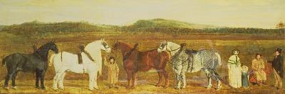 A Farmer with His Family, Farm Workers, and Four Shire Horses-William Stott-Giclee Print