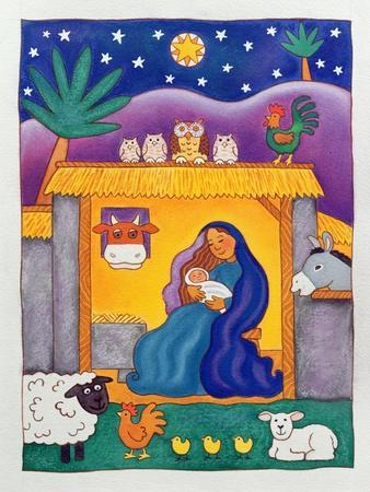 A Farmyard Nativity, 1996-Cathy Baxter-Giclee Print