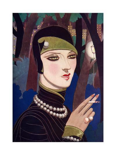 A Fashionable Woman Wearing Pearls and Smoking-Eliot Hodgking-Giclee Print