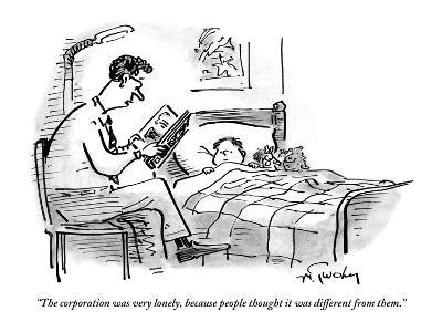 A father tucks his son into bed with a bedtime story about the corporation - New Yorker Cartoon-Mike Twohy-Premium Giclee Print