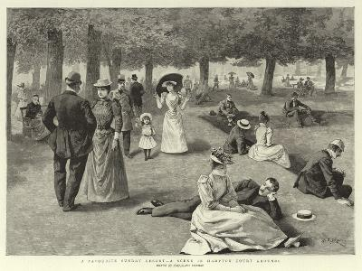 A Favourite Sunday Resort, a Scene in Hampton Court Grounds--Giclee Print