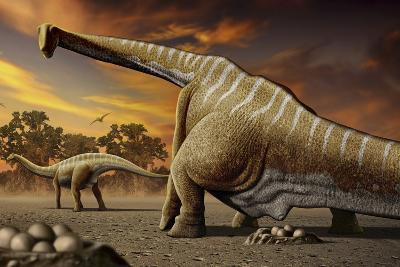 A Female Apatosaurus Laying Her Eggs in Nest-Stocktrek Images-Art Print
