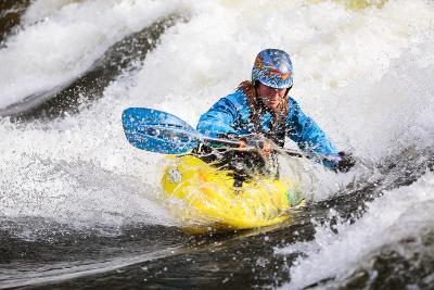 A Female Kayaker Playboating In A Drysuit On Pipeline Wave On The Lochsa River In Idaho-Ben Herndon-Photographic Print