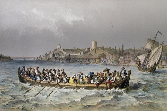 A Ferry Boat (Bazaar-Kaiq) on Bosporus--Giclee Print