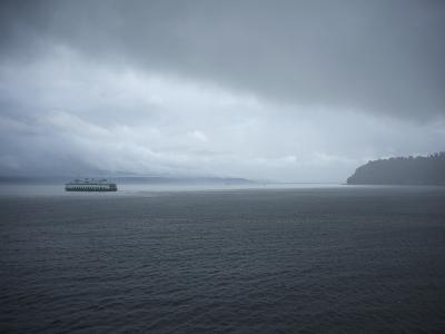 A Ferry Boat Moves Through Stormy Weather From Vashon Island to West Seattle. Washington State, USA-Aaron McCoy-Photographic Print