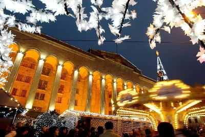 A Festive Activities in Front of the Parliament Building in Tbilisi-Zurab Kurtsikidze-Photographic Print