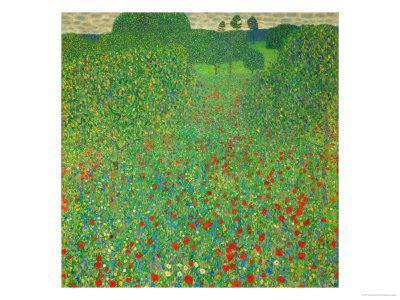 Poppy Field by Gustav Klimt Giclee Canvas Print
