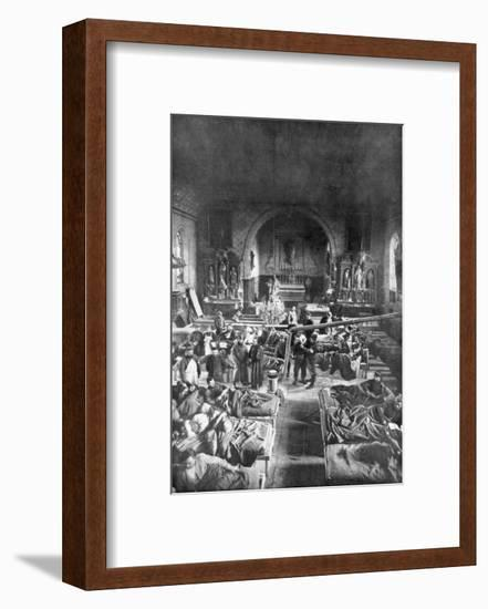 A Field Station at the Front, in the Nave of a Rural Church, World War I, 1915--Framed Giclee Print
