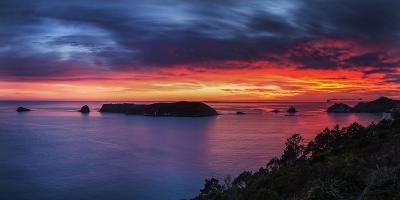 A Fiery Dawn Sky Breaks Beyond the Islands Off the Coromandel Peninsula, Waikato, North Island-Garry Ridsdale-Photographic Print