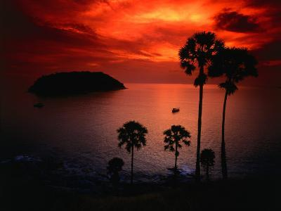 A Fiery Tropical Sunset at Prohmthep Cape, Phuket, Thailand-Anders Blomqvist-Photographic Print