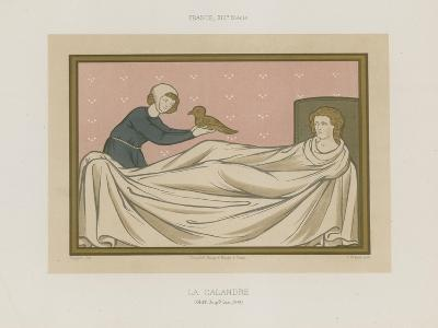 A Figure Presenting a Bird to a Person Laying in Bed--Giclee Print
