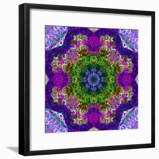 A Filigree Mandala from Color Drawing and Flower Photograph, Layered Work-Alaya Gadeh-Framed Photographic Print