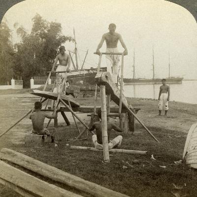A Filipino Sawmill, Cebu, Philippines-Underwood & Underwood-Photographic Print