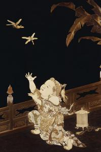 A Fine Framed Roironuri Panel in Gold and Black Hiramakie, Meiji Period