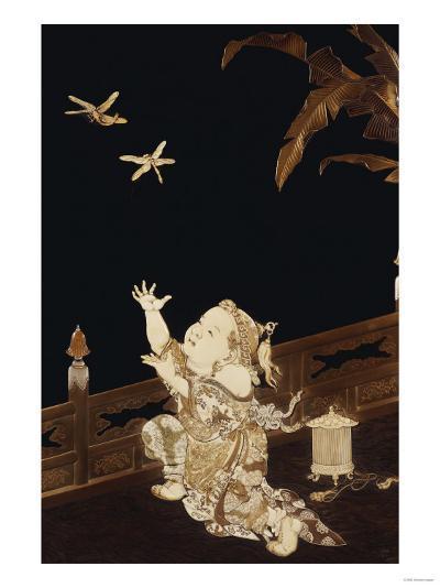 A Fine Framed Roironuri Panel in Gold and Black Hiramakie, Meiji Period--Giclee Print