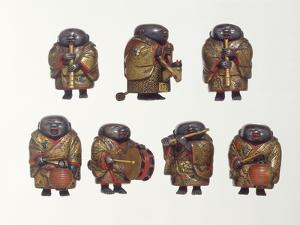 A Finely Lacquered Group of Seven Netsuke