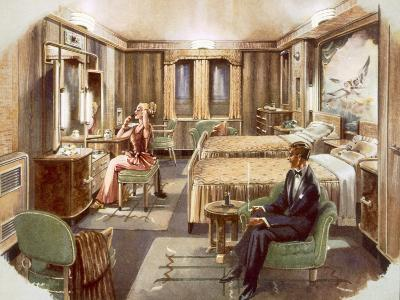 A First Class Cabin Aboard the RMS Caronia, from a Promotional Brochure, 1947--Giclee Print