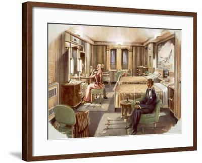 A First Class Cabin Aboard the RMS Caronia, from a Promotional Brochure, 1947--Framed Giclee Print