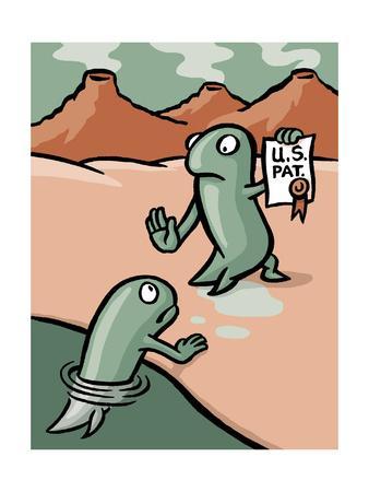 A fish patents evolution - Cartoon-Christoph Niemann-Premium Giclee Print