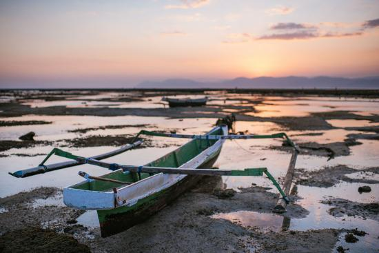 A Fisherman Boat at Low Tide Sunset-Max Lowe-Photographic Print