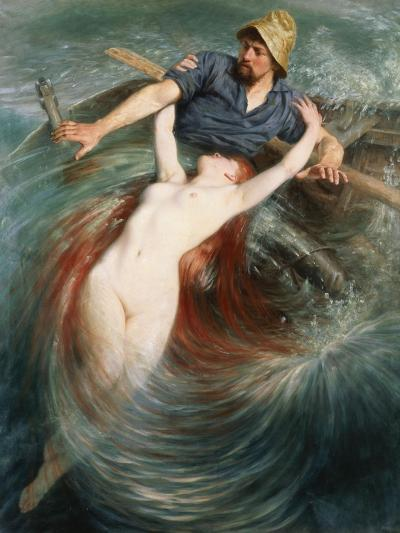 A Fisherman Engulfed by a Siren-Knut Ekvall-Giclee Print