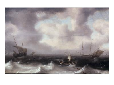 A Fishing Boat on Rough Seas with other Larger Sailing Vessels, 1633-Hendrik Van Anthonissen-Giclee Print