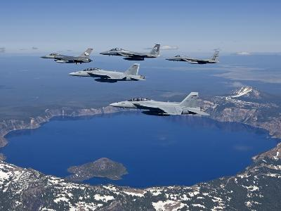 A Five Ship Aircraft Formation Flies Over Crater Lake, Oregon-Stocktrek Images-Photographic Print