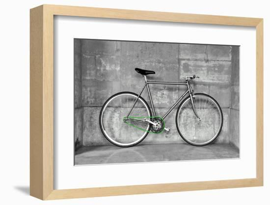 A Fixed-Gear Bicycle (Also Called Fixie) In Black And White With A Green Chain-Dutourdumonde-Framed Art Print
