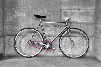A Fixed-Gear Bicycle (Or Fixie) In Black And White With A Pink Chain-Dutourdumonde-Art Print