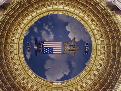 A Flag and State Emblem in the Dome of the Iowa State Capitol-Joel Sartore-Photographic Print