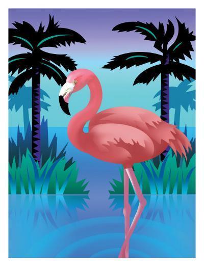 A Flamingo Standing in Water--Art Print