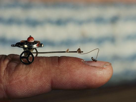 A Flea Pulls a Small Cart Along an Outstretched Finger-Nicole Duplaix-Photographic Print