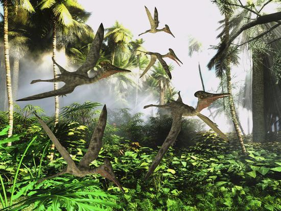 A Flock of Pterodactylus Reptiles Fly over the Jungle Searching for their Next Meal-Stocktrek Images-Art Print