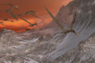 A Flock of Zhenyuanopterus Flying Past the Mountainside-Stocktrek Images-Art Print