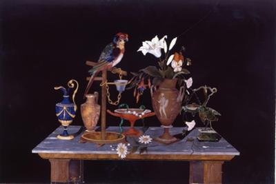 A Florentine Pietra Dura Plaque with a Parrot on its Perch on a Table with an Etruscan Krater Vase