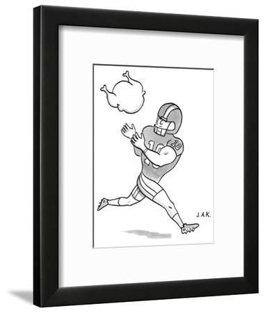 A Football player poises to catch a Turkey. - New Yorker Cartoon--Framed Premium Giclee Print