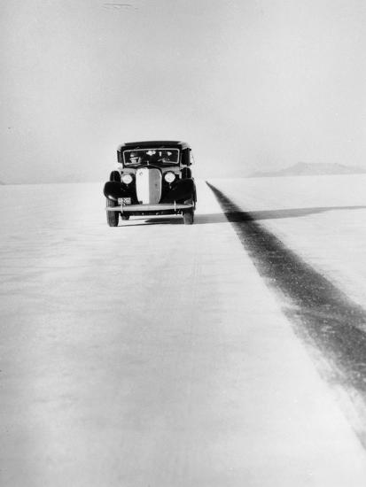 A Ford Lincoln on the Bonneville Salt Flats, Utah, 1935-Unknown-Photographic Print