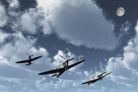 A Formation of Royal Air Force Supermarine Spitfires-Stocktrek Images-Art Print