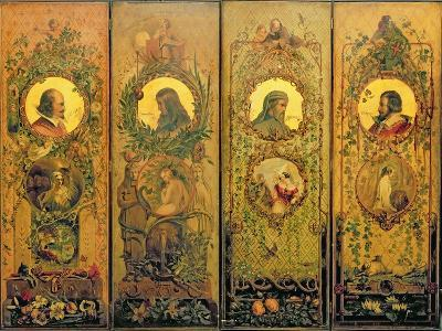 A Four Leaf Screen with Portraits of Shakespeare, Milton, Chaucer and Spenser-Scott-Giclee Print