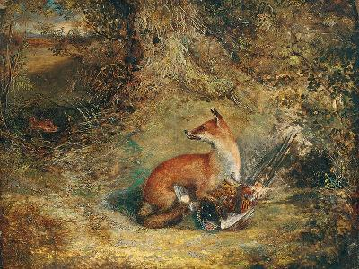 A Fox with a Pheasant-George Havell-Giclee Print