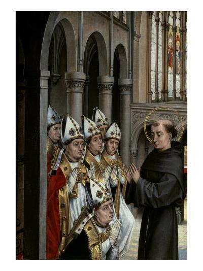 A Franciscan Saint and Six Bishops-Rogier van der Weyden-Giclee Print