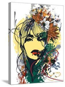 Abstract Print with Female Face, Painted Elements and Flowers by A Frants