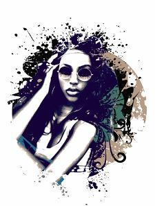 Abstract Vector Illustration with a Girl with Sunglasses by A Frants