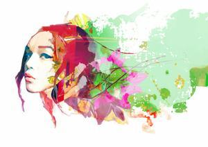 Bright Color Composition with Female Face and Flowers by A Frants