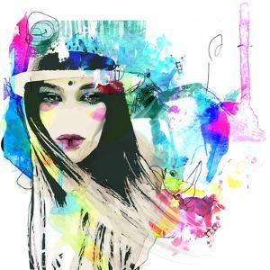 Fashion Illustration with a Face and Bright Free Hand Spots by A Frants