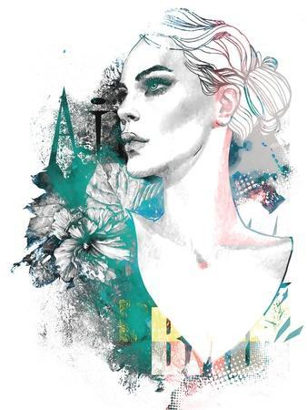 Fashion Illustration with a Freehand Drawing Pretty Blonde Lady and Floral Elements