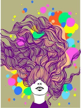 Freehand Vector Illustration with a Beautiful Hair Lady and Bright Blots