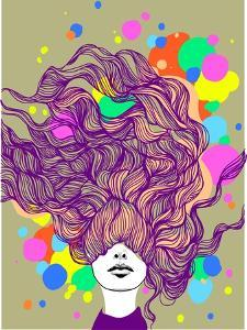 Freehand Vector Illustration with a Beautiful Hair Lady and Bright Blots by A Frants