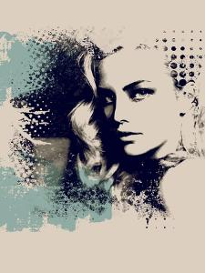 Grunge Composition with a Pretty Girl and Painted Blots by A Frants