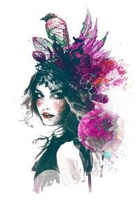 Ink Illustration with Painted Girl, Birds and Leafs by A Frants